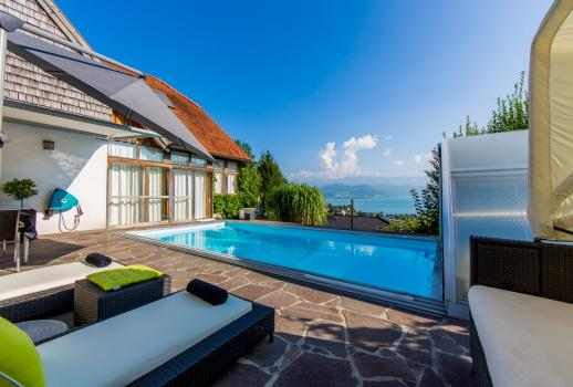 Upscale home with pool and stunning views of the Attersee