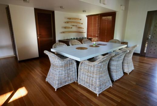 Luxury beach villa with swimming pool, garden and terrace with sea view