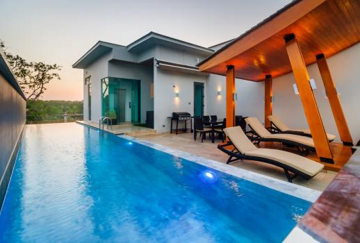 A luxury villa with infinity pool on the island of Phuket in Thailand