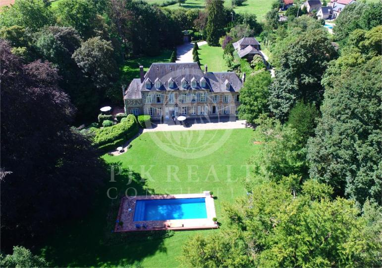 Castle with pool Aerial view
